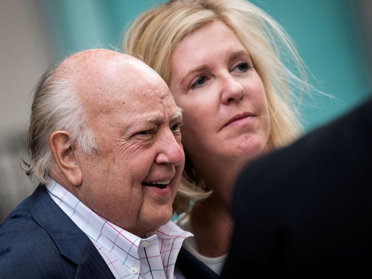Roger Ailes with his wife Elizabeth in July 2016