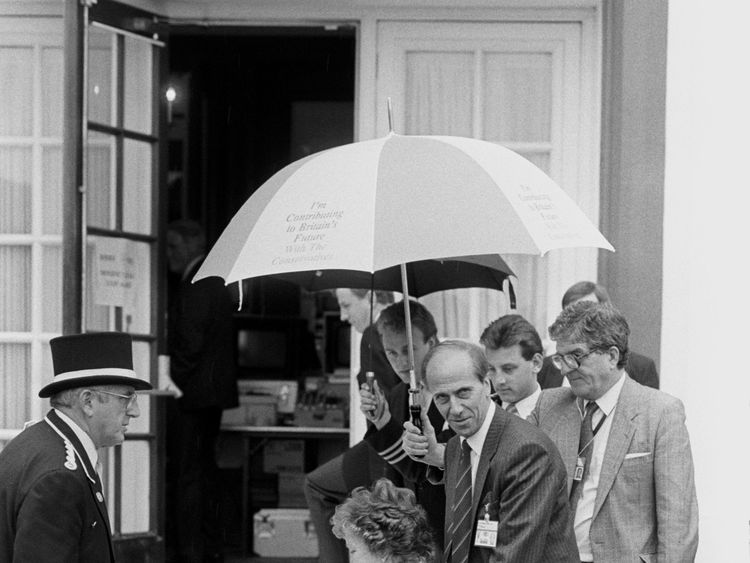 Norman Tebbit and his wife re-visit Brighton's Grand Hotel four years after the attack