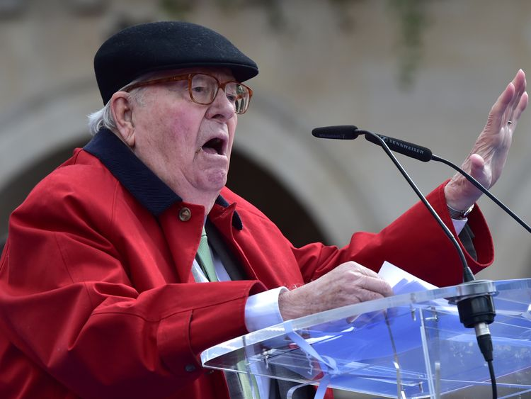 Jean-Marie Le Pen delivers a speech during a rally to honour Joan of Arc in Paris