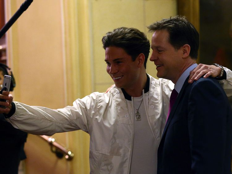 Nick Clegg has a selfie photograph taken with reality television star Joey Essex in 2015