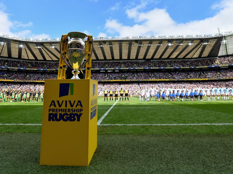 Fans at Twickenham observe a minute's silence before the Aviva Premiership Final