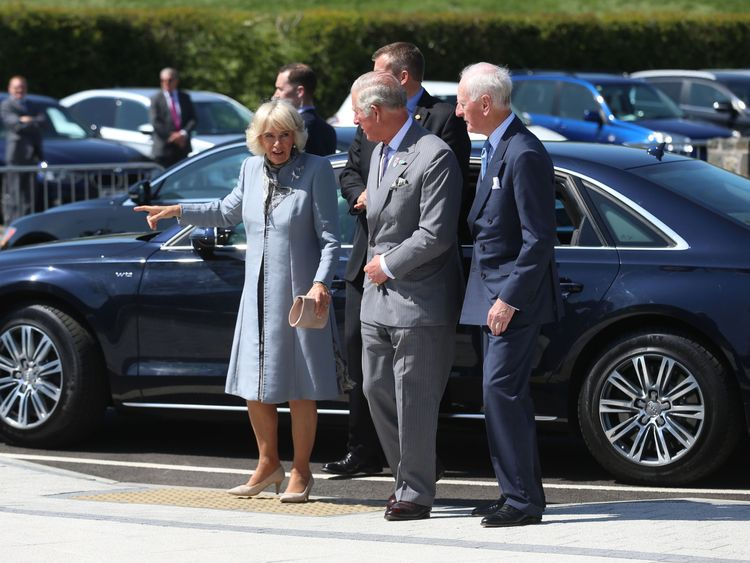 Prince Charles and wife Camilla arrive at the new centre dedicated to Seamus Heaney
