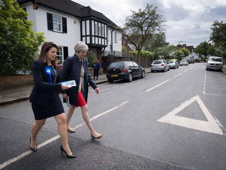Theresa May on the campaign trail with party candidate Joy Morrissey in west London