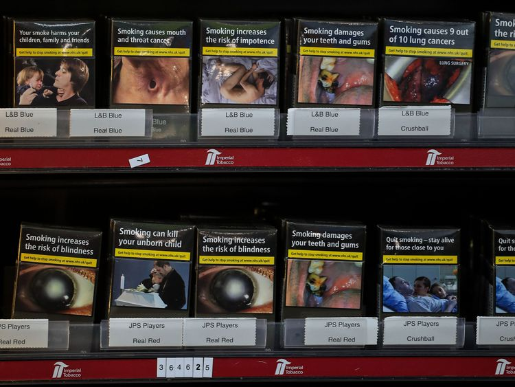 Packaging bears graphic warnings of the dangers of smoking