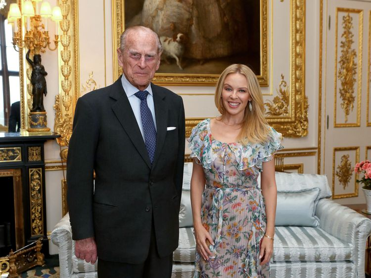 The Duke of Edinburgh with Kylie Minogue