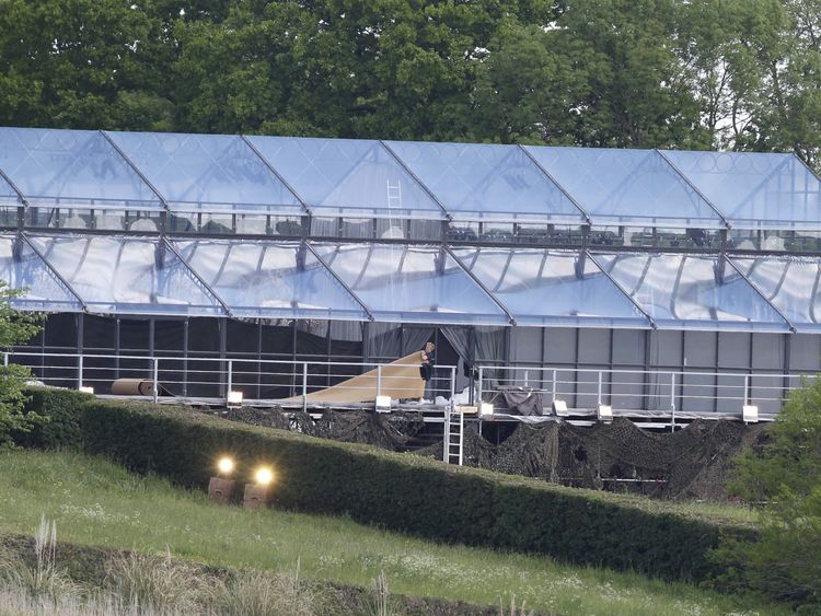 The glass marquee where the wedding reception will take place