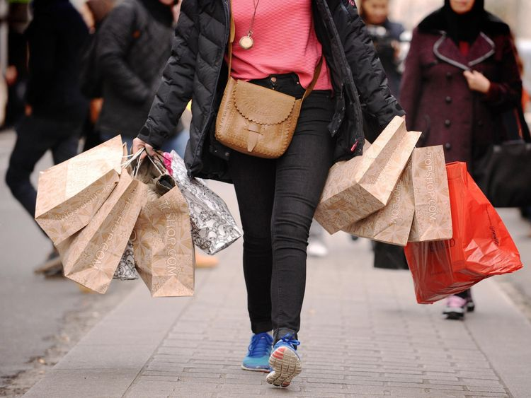 A shopper on a high street
