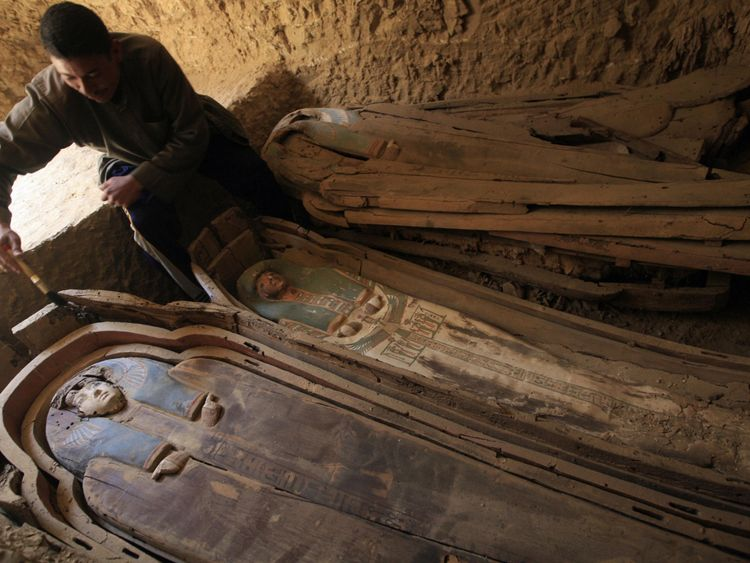 Mummies such as the ones in these coffins from the Fayyum Oasis, about 10 miles from Abusir el-Meleq, may have more European DNA than sub-Saharan.