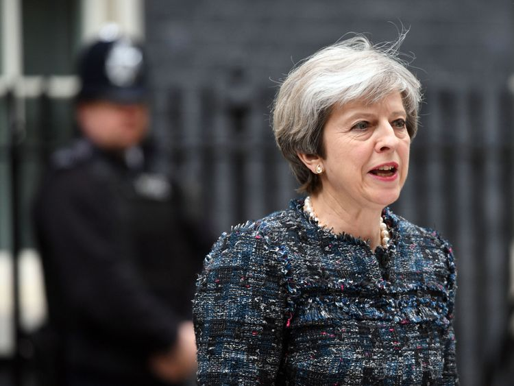 Prime Minister Theresa May makes a statement in Downing Street, London, after visiting Queen Elizabeth II at Buckingham Palace to mark the dissolution of Parliament for the General Election.