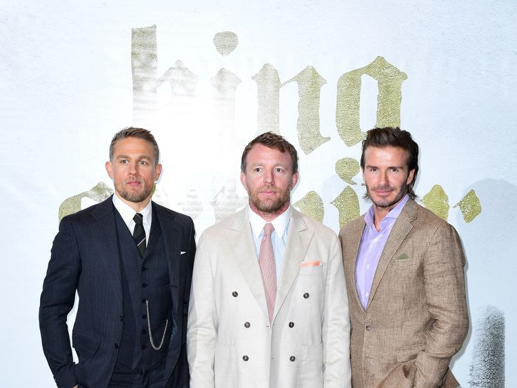 (L-R) Charlie Hunnam, Guy Ritchie and David Beckham