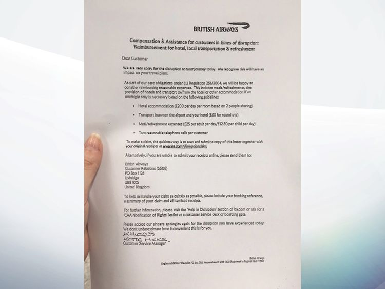 A letter handed to BA customers at the affected airports