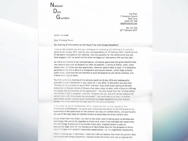 The first page of the National Data Guardian's letter