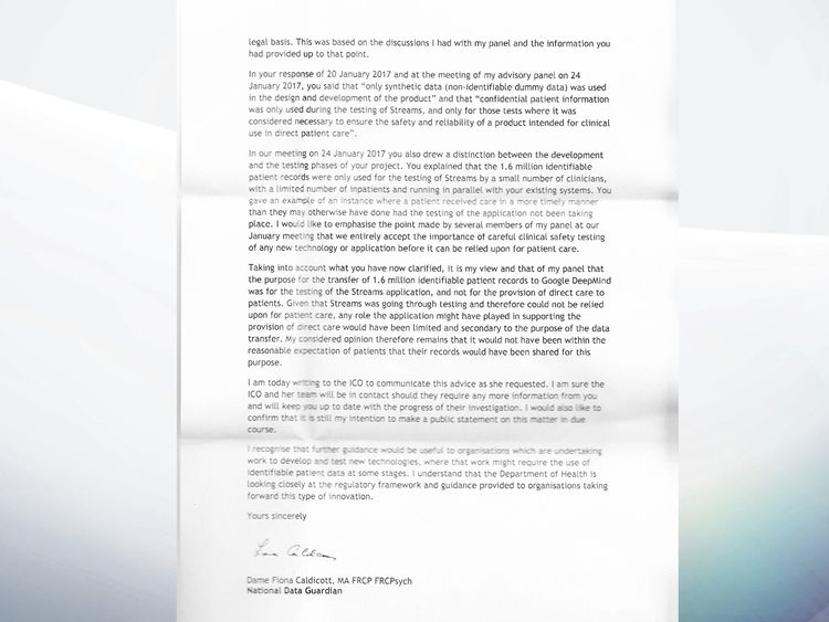 The second page of the National Data Guardian's letter