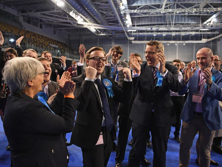 Thomas Kerr Conservative candidate for Shettelston celebrates winning a Glasgow Council seat