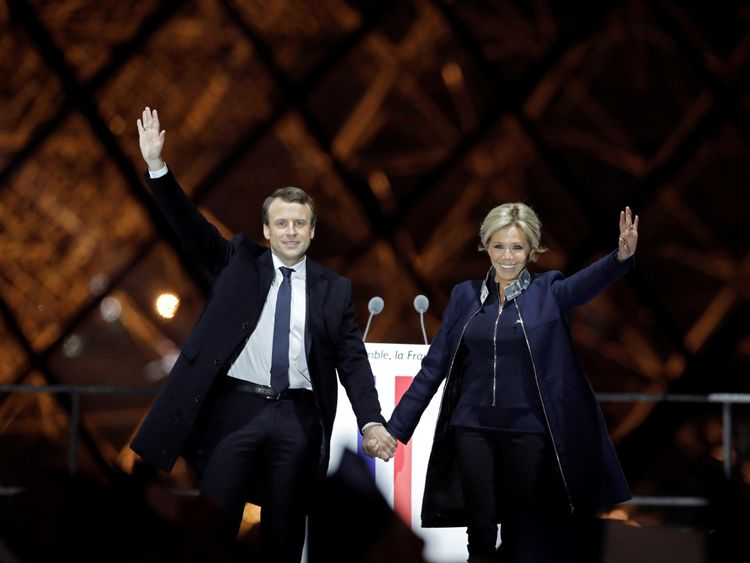 French President elect Emmanuel Macron and his wife Brigitte Trogneux
