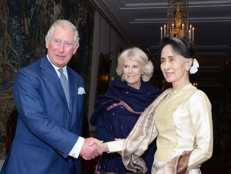 The Prince of Wales and the Duchess of Cornwall greet Burma's de facto leader Aung San Suu Kyi