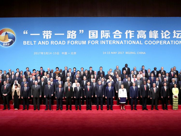 Chinese President Xi Jinping and delegates attending the Belt and Road Forum pose for a group photo in Beijing, China May 14, 2017. Courtesy of Xinhua/Pang Xinglei/Handout via REUTERS ATTENTION EDITORS - THIS IMAGE WAS PROVIDED BY A THIRD PARTY. CHINA OUT. EDITORIAL USE ONLY. NO RESALES. NO ARCHIVE.