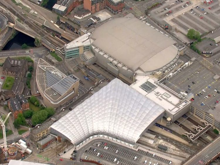 Aerial shot of Manchester Arena and Manchester Victoria station