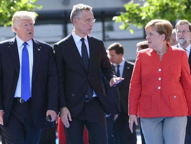 Angela Merkel and Donald Trump at NATO summit in Brussels on 25 May, 2017.