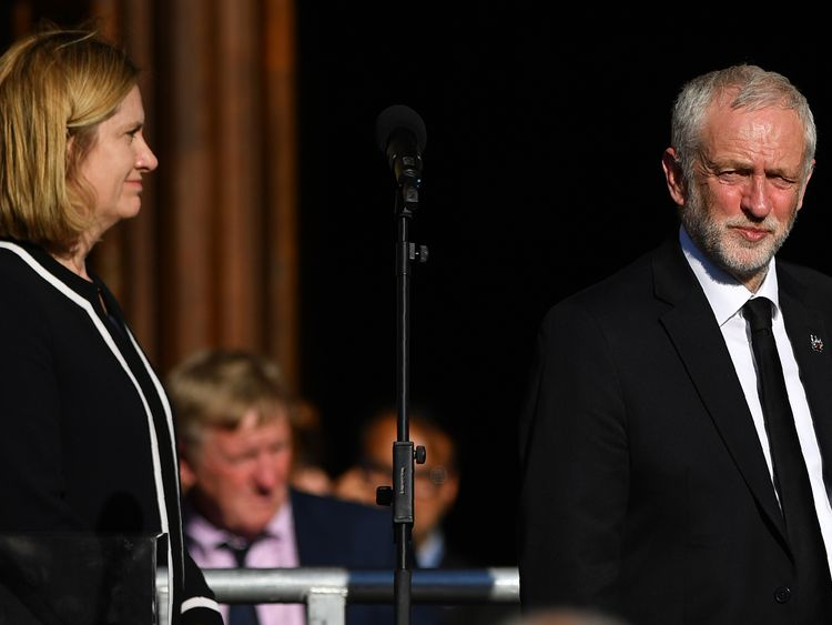 Home Secretary Amber Rudd (L) and Labour Party leader Jeremy Corbyn