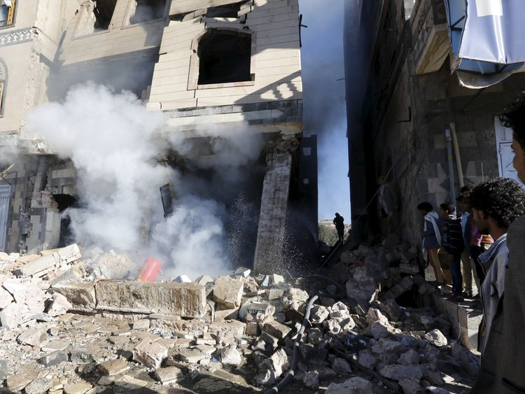 Building damaged in a Saudi-led airstrike in Yemen