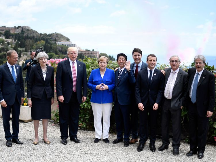 G7 leaders backed Mrs May's demand for action against extremist content online