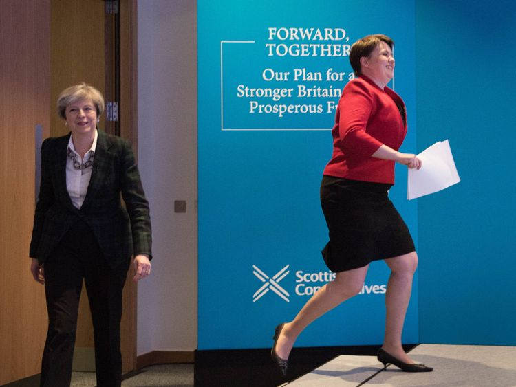 Theresa May and Ruth Davidson at the Scottish Conservatives manifesto launch in Edinburgh