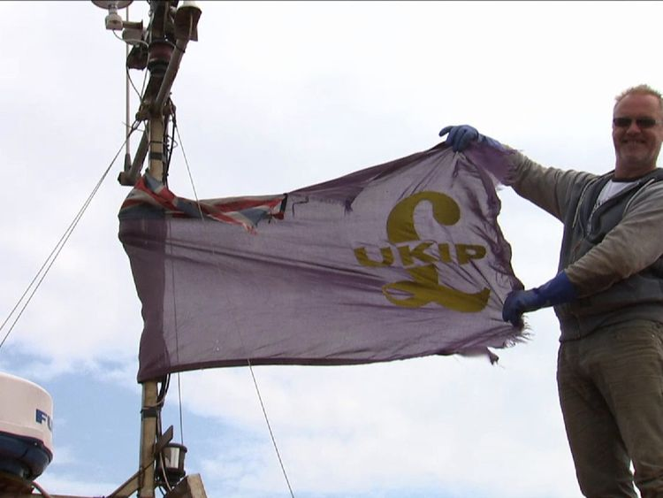 Fisherman Steve Barratt still has a UKIP flag on his boat's mast