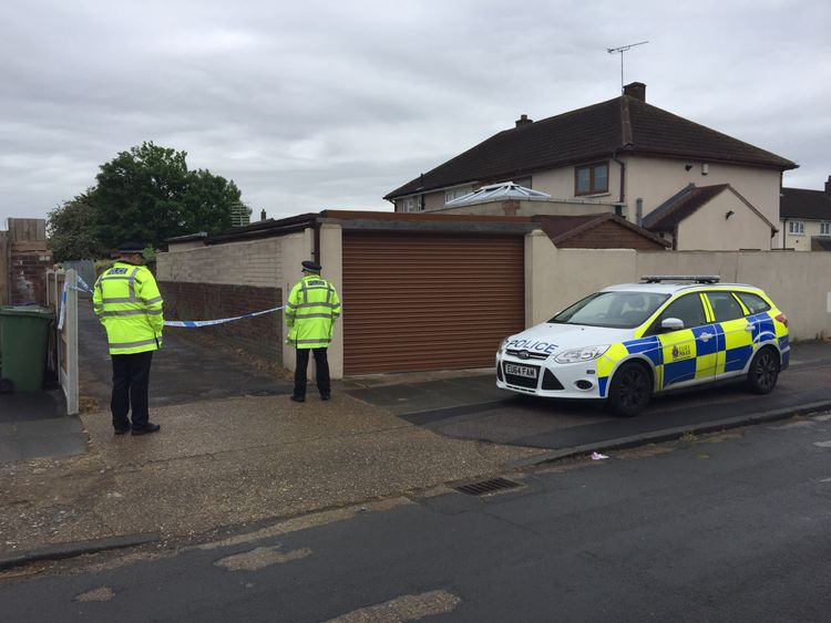 Police are searching a block of garages in Stifford Clays, Thurrock, Essex