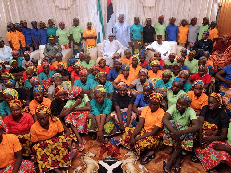 President Buhari and freed Chibok girls