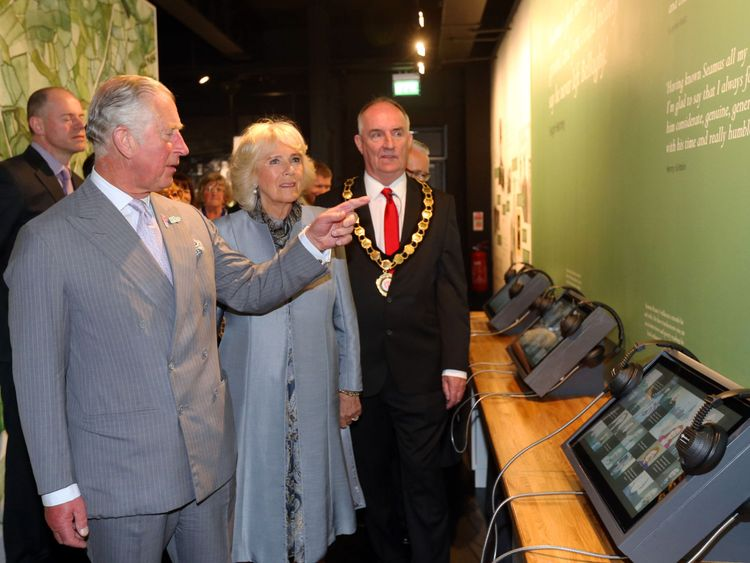 Charles and Camilla tour the new Seamus Heaney centre
