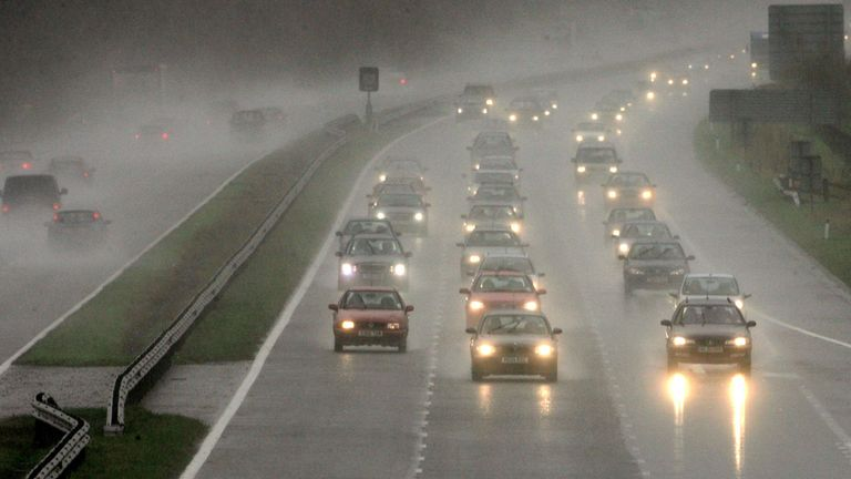 Heavy rain causes difficult driving conditions on the M5 near Cullompton in Devon in 2006