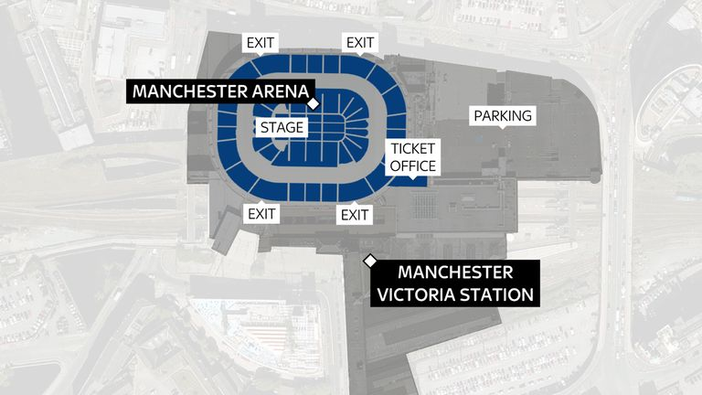 A map showing the Manchester Arena