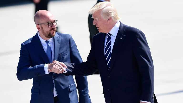 Mr Michel welcomed Donald Trump when he arrived in Brussels