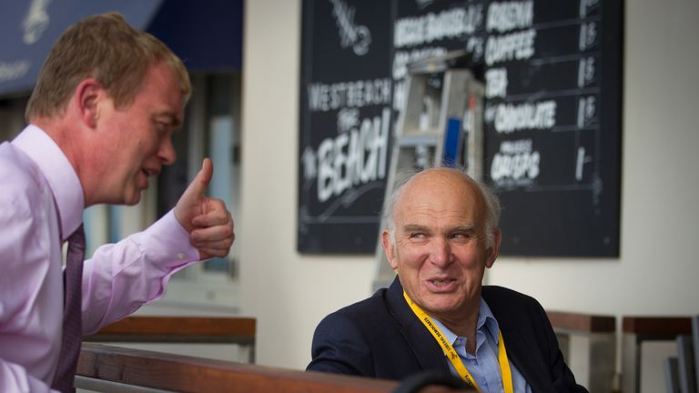 Tim Farron with Vince Cable