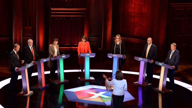 Senior politicians take part in the BBC's televised debate