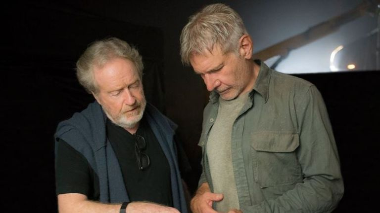 Ford and Scott behind the scenes of Blade Runner 2049