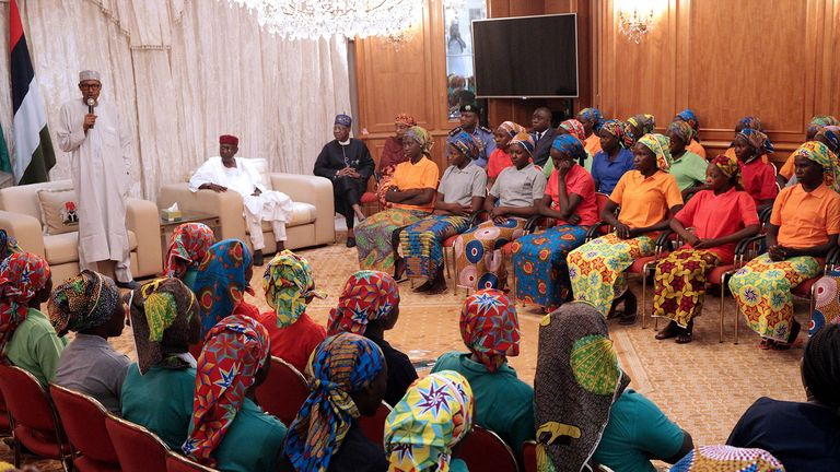Nigeria's President Muhammadu Buhari speaks as he welcomes a group of Chibok girls, who were held captive for three years by the millitant group Boko Haram, in Abuja, Nigeria, May 7, 2017
