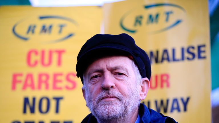 Labour leader Jeremy Corbyn attends a fares protest at King's Cross Station
