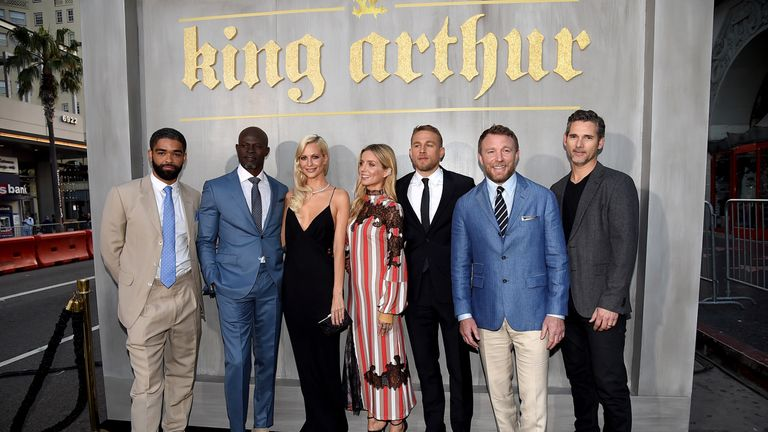 The cast of King Arthur (not including Beckham) with Ritchie in LA