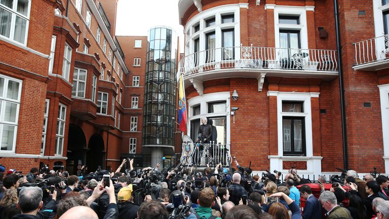Dozens of people had gathered outside the Ecuadorian embassy to hear Assange speak