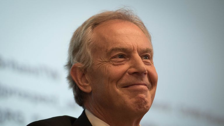 Former prime minister Tony Blair takes part in a discussion on Britain in the World