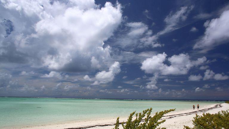 The beach near The Brando resort on Tetiaroa