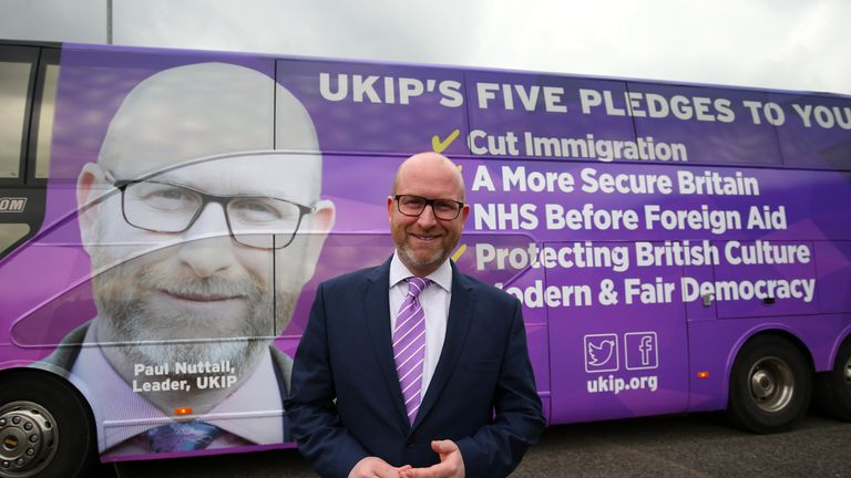 UKIP leader Paul Nuttall with the party's election battlebus