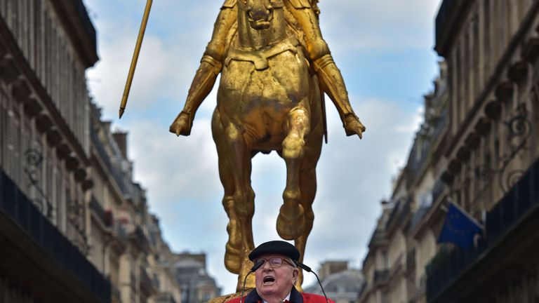 Marine Le Pen's father, Jean-Marie Le Pen, spoke at a May Day rally in honour of Joan of Arc in Paris