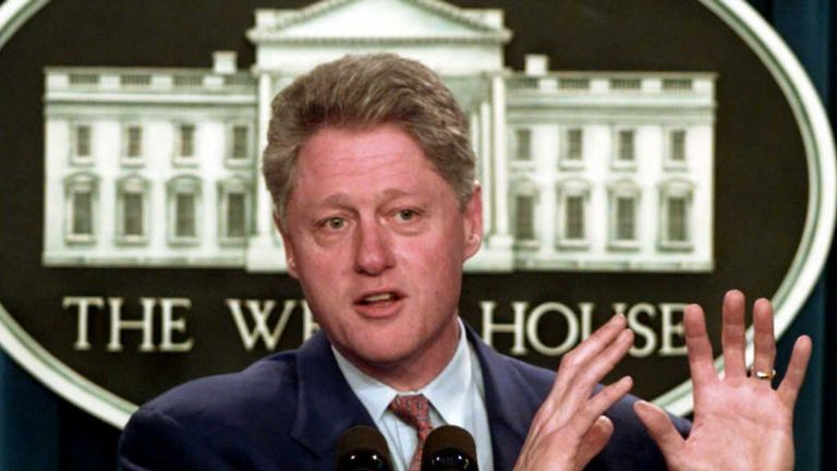 US President Bill Clinton in 1996