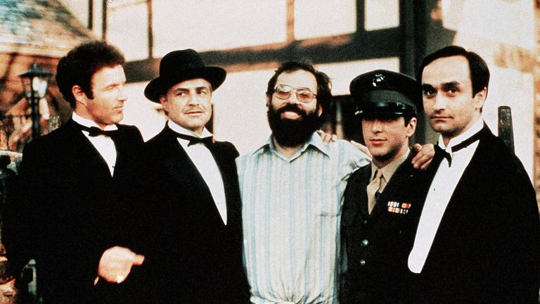 James Caan, Marlon Brando, Francis Ford Coppola, Al Pacino and John Cazale in the set of The Godfather