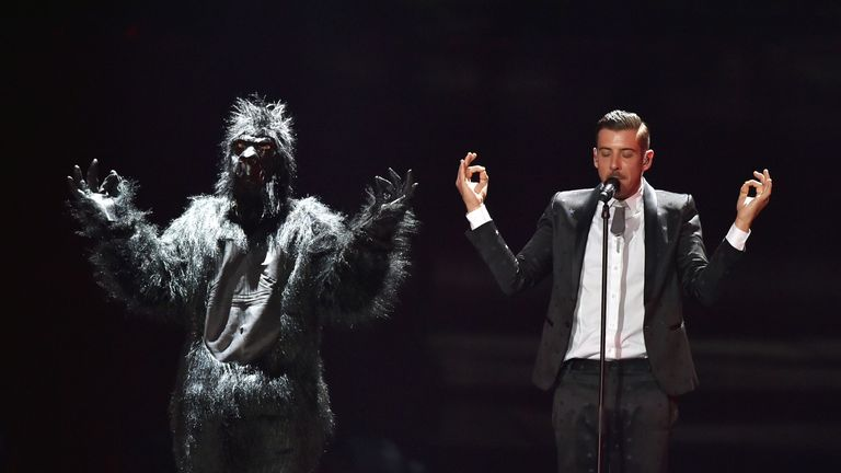 Italian singer Francesco Gabbani performs during the first semi-final rehearsal for the Eurovision Song Contest
