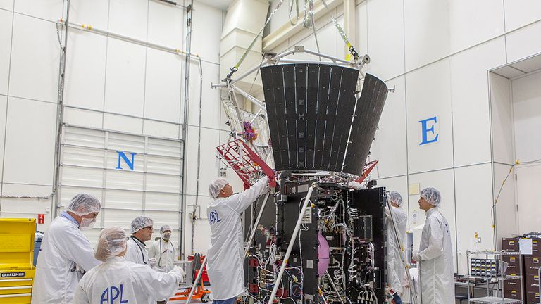 Mission integration and test team members secure critical thermal-protection components on the Solar Probe Plus spacecraft. Pic: NASA/Johns Hopkins University Applied Physics Laboratory