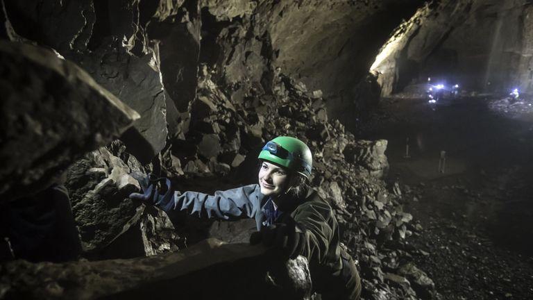 A potholer explores Gaping Gill